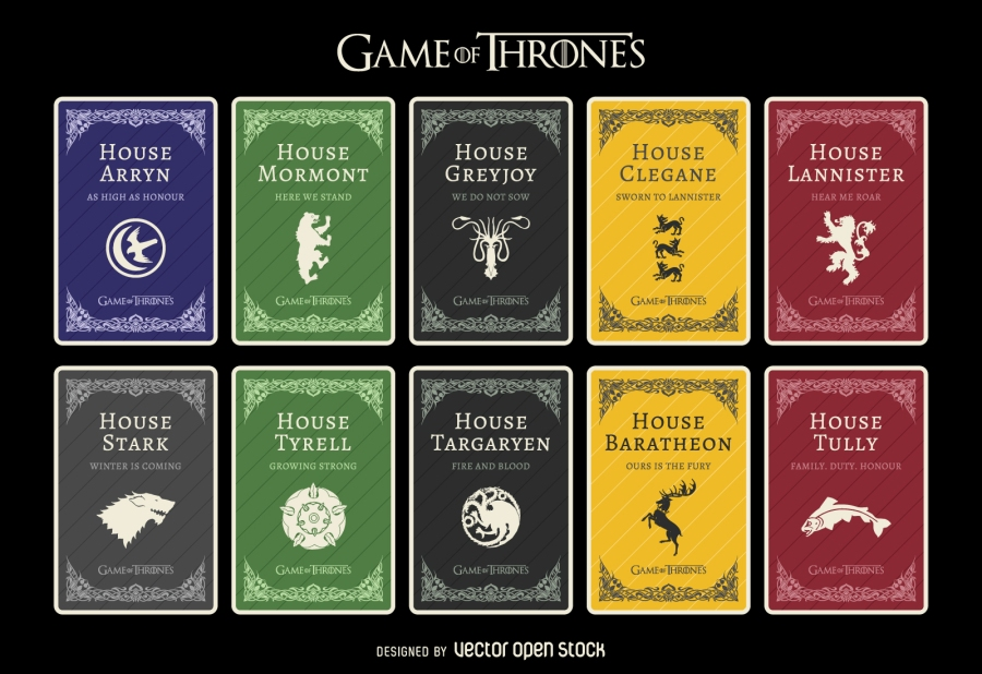 Les différentes maisons de Game of Thrones. Designed by vexels.com