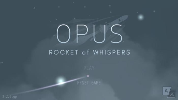 Ecran d'accueil du jeu Opus : Rocket of Whispers.